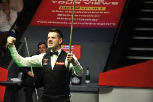 Selby triumphs at the Crucible - photo courtesy of Monique Limbos.