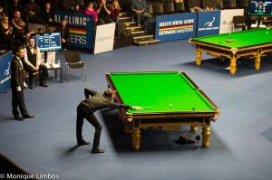 Trump sinks the final black as a smiling Selby readies to shake his hand - photo courtesy of Monique Limbos.