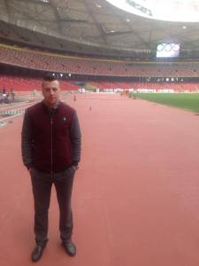 Johnny at the Birds Nest in Beijing - scene of Usain Bolt's record-breaking sprints.