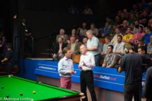 Ken Doherty and Steve Davis warm up for their BBC coverage - photo courtesy of Monique Limbos.