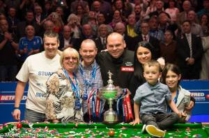 Stuart Bingham celebrating his triumph in May - photo courtesy of Monique Limbos.