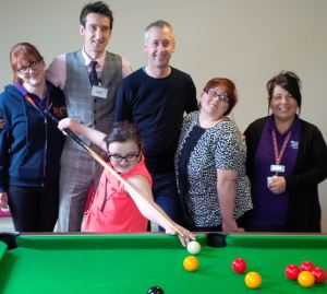 Picture, left to right: (back) Bluebell Wood nurse Catherine Jackson, World Snooker MC Rob Walker, snooker player Nigel Bond,  Kanisha Fullwood (22) who is supported by Bluebell Wood and Bluebell Wood Activity Co-ordinator Diane Price. Front: Bluebell Wood child Ellie Mitchell (10).