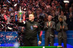 Stuart Bingham after his win at the Crucible earlier this month - photo courtesy of Monique Limbos.