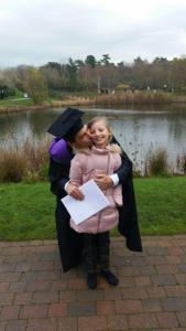 Welsh, who already has a Masters in Psychology, with his daughter at graduation.